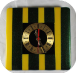 20cm squareyellow and aventurine green clock